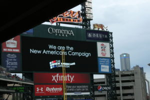 A PSA about the New Americans Campaign aired at Comerica Park before the Tigers home game