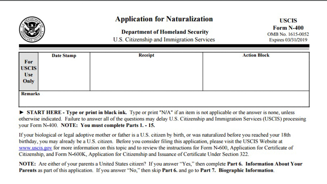 New Americans Campaign New N 400 Naturalization Application Form