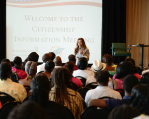 Miami Dolphins employees attend a citizenship information session with New American Workforce