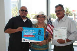 Saul Montoya (right) with his son and wife, Letisia. Photo from NALEO Educational Fund